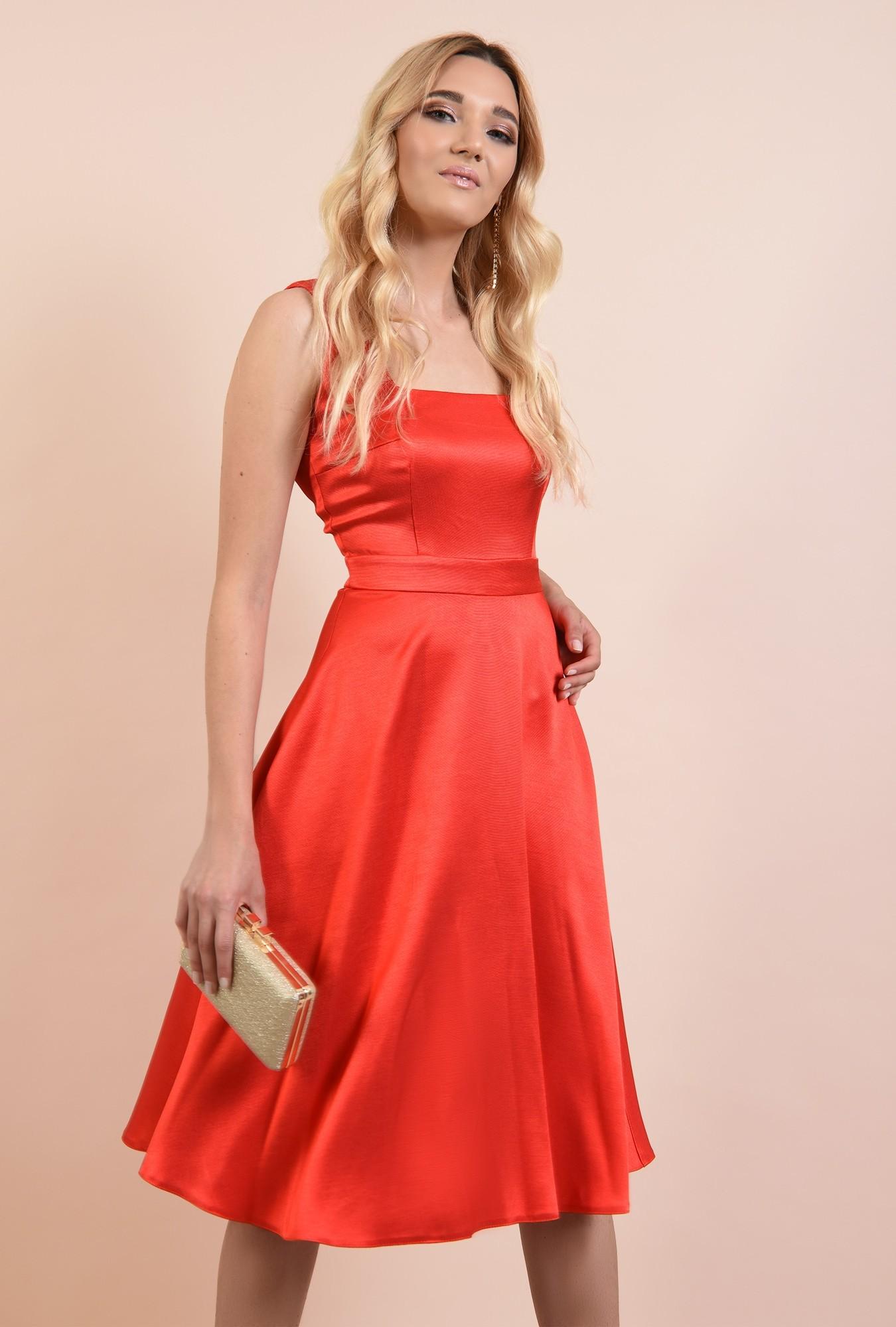 rochie de ocazie, Poema, corai, cu bretele, evazata, rochii online