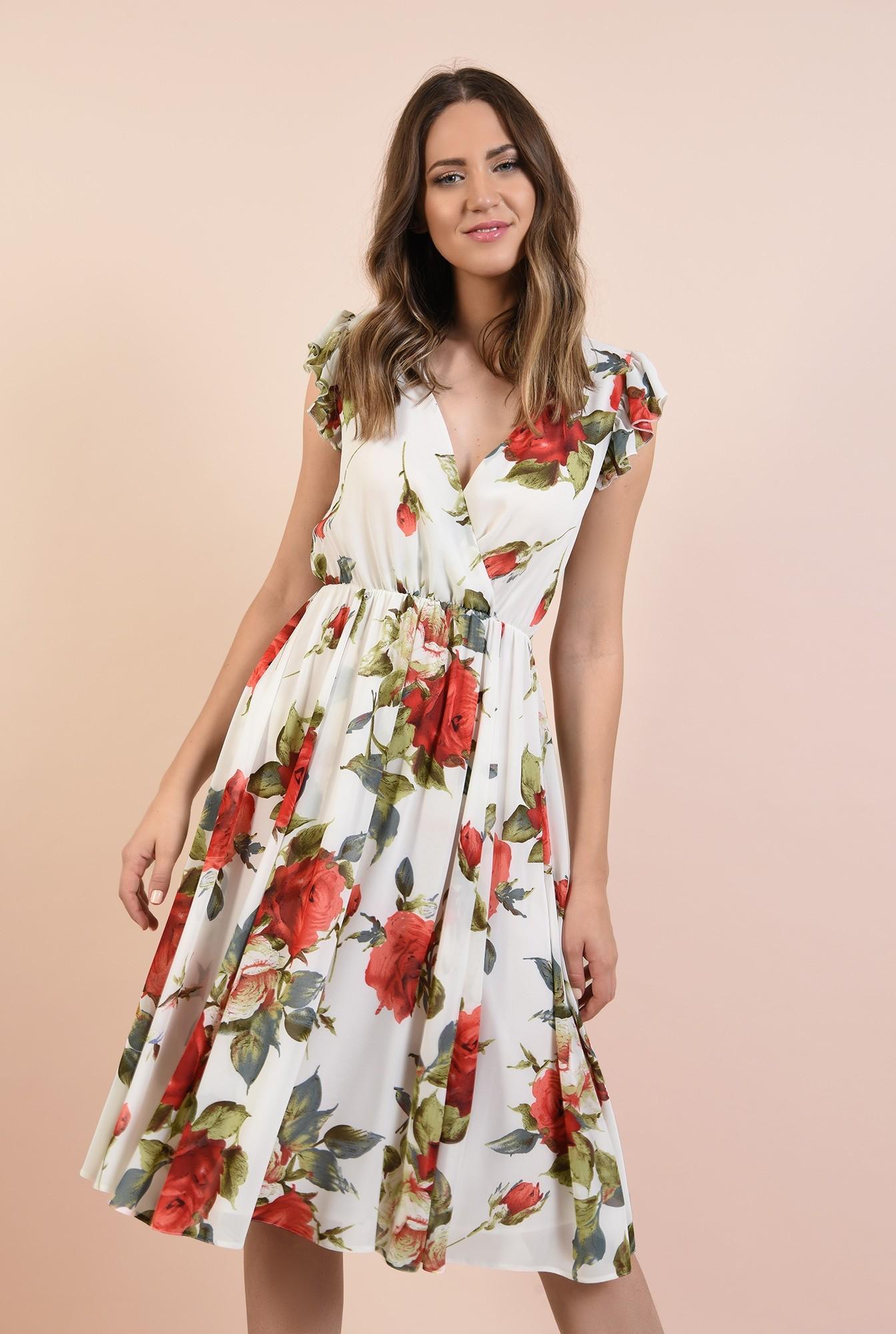 rochie cu flori, de vara, midi, clos, elastic la talie, maneci tip volan