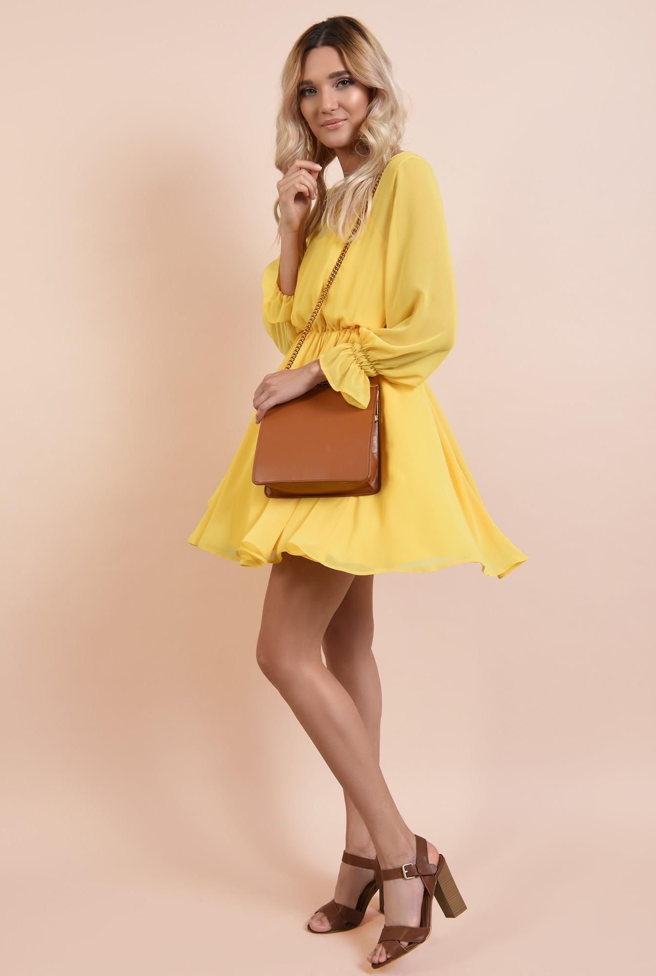 rochie casual, de vara, de zi, galbena, din sifon creponat, clos, maneci lungi