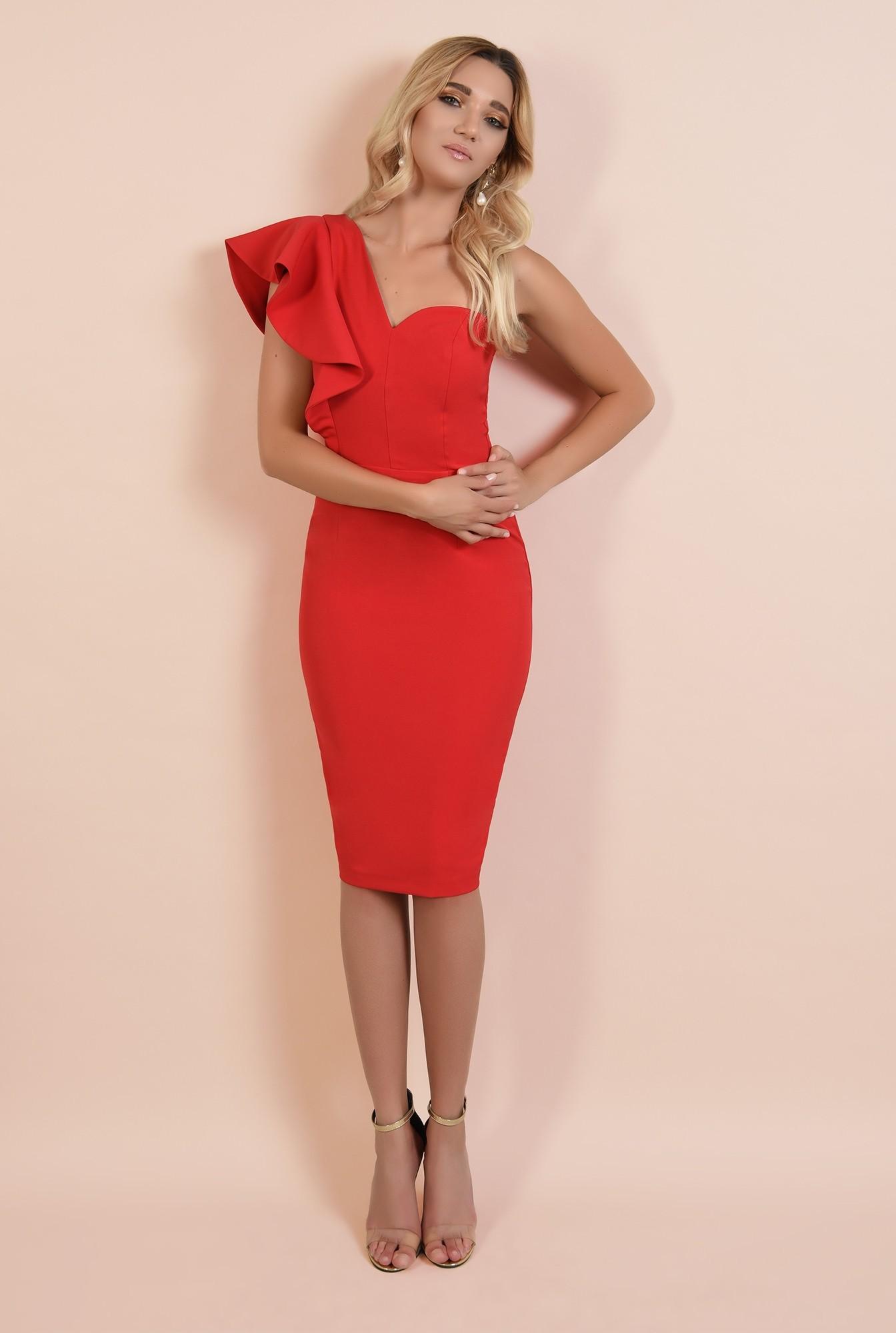 360 - rochie rosie, de ocazie, midi, conica, decolteu inima