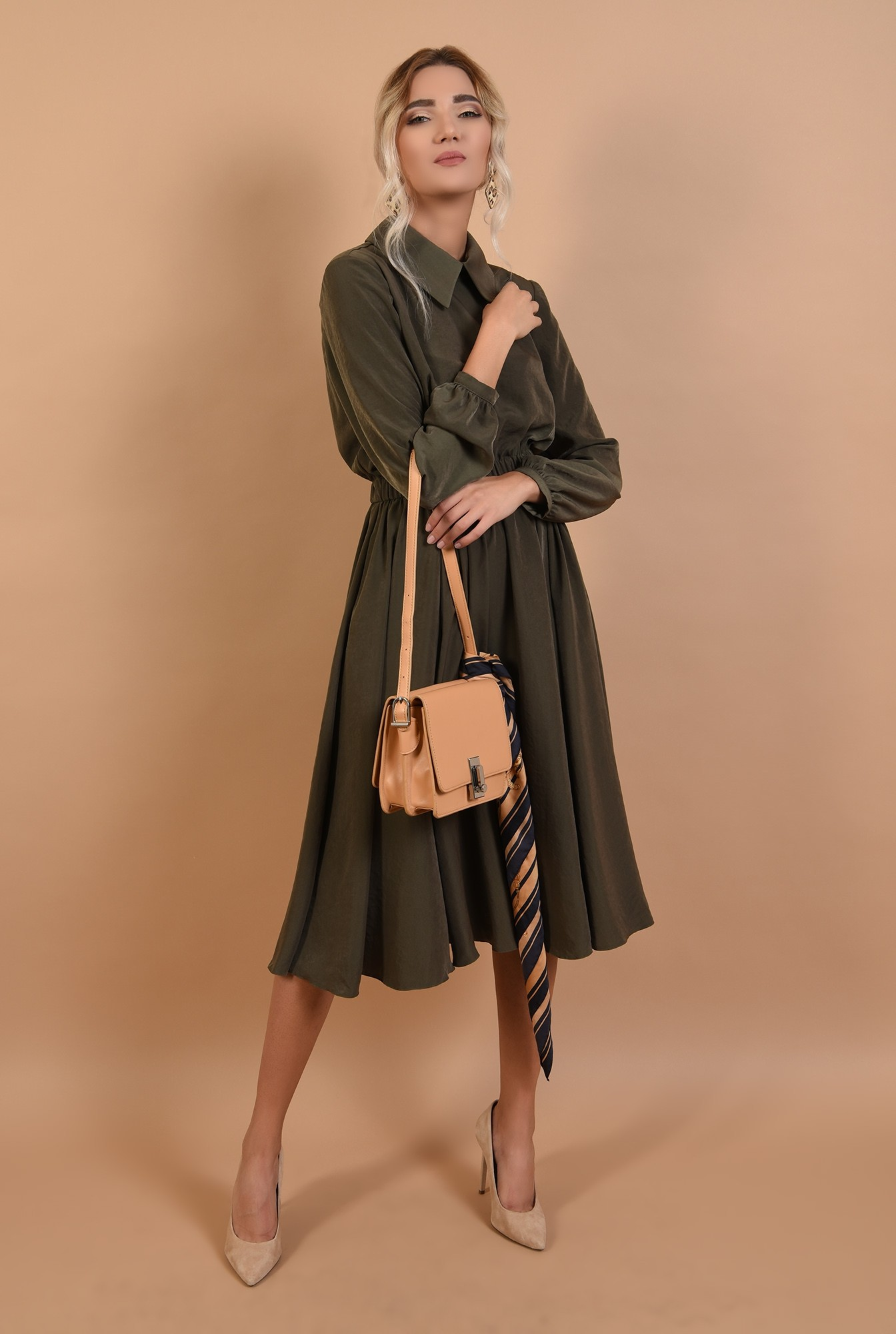360 - rochie casual, midi, evazata, talie variabila, guler ascutit