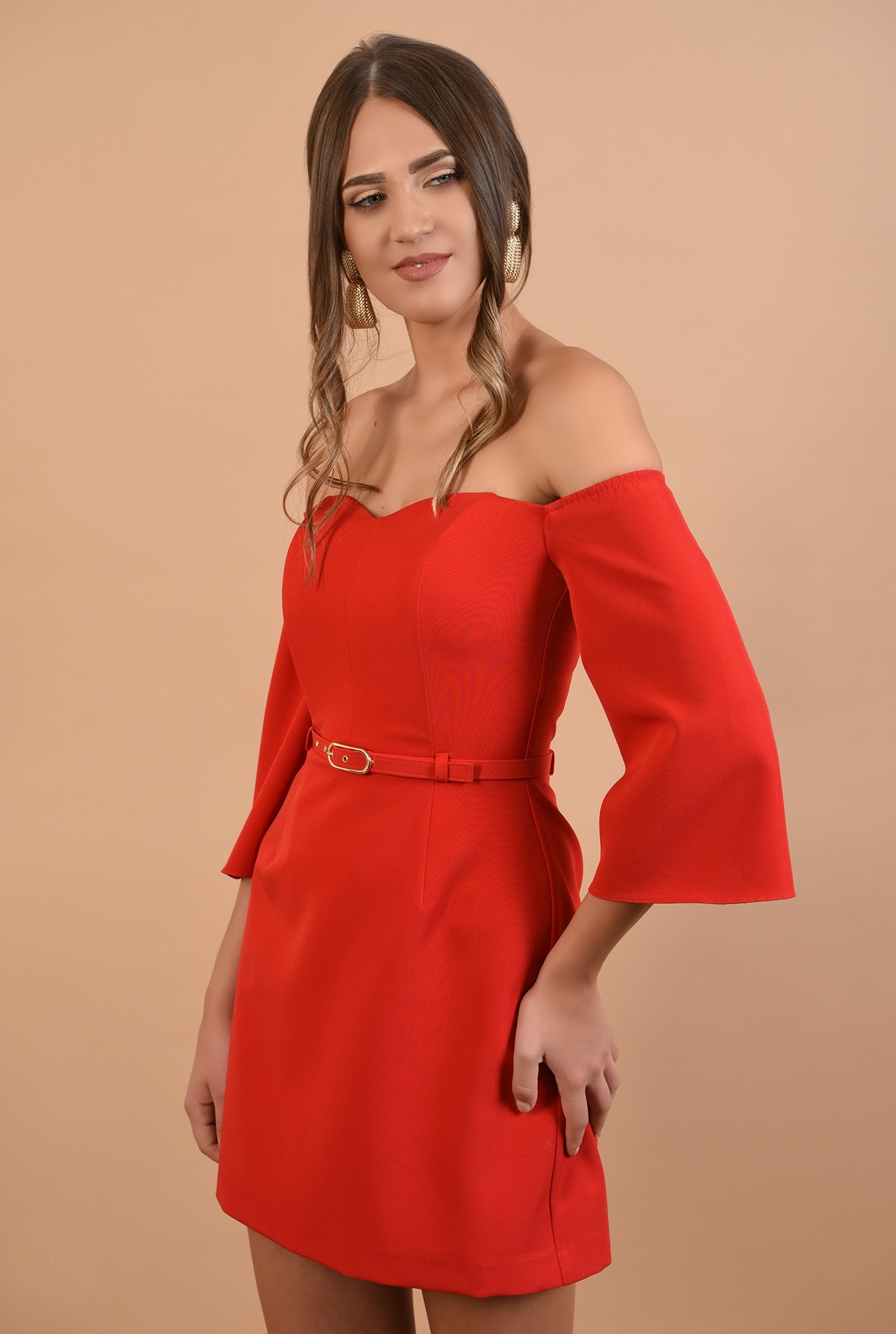 rochie eleganta, mini, rosie, umeri dezgoliti, decolteu inima, Poema