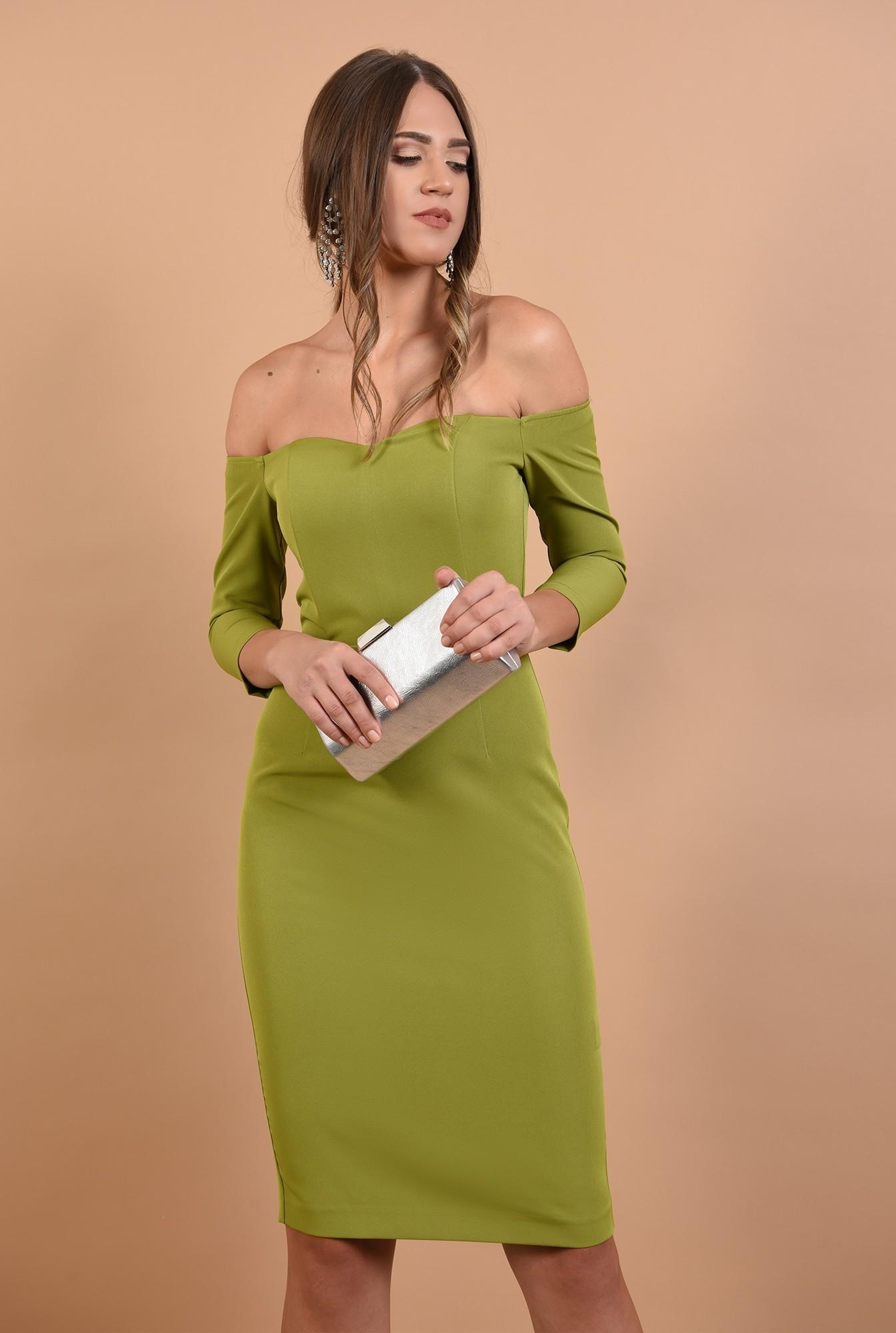 rochie Poema, eleganta, cambrata, cu maneci ajustate, verde lime
