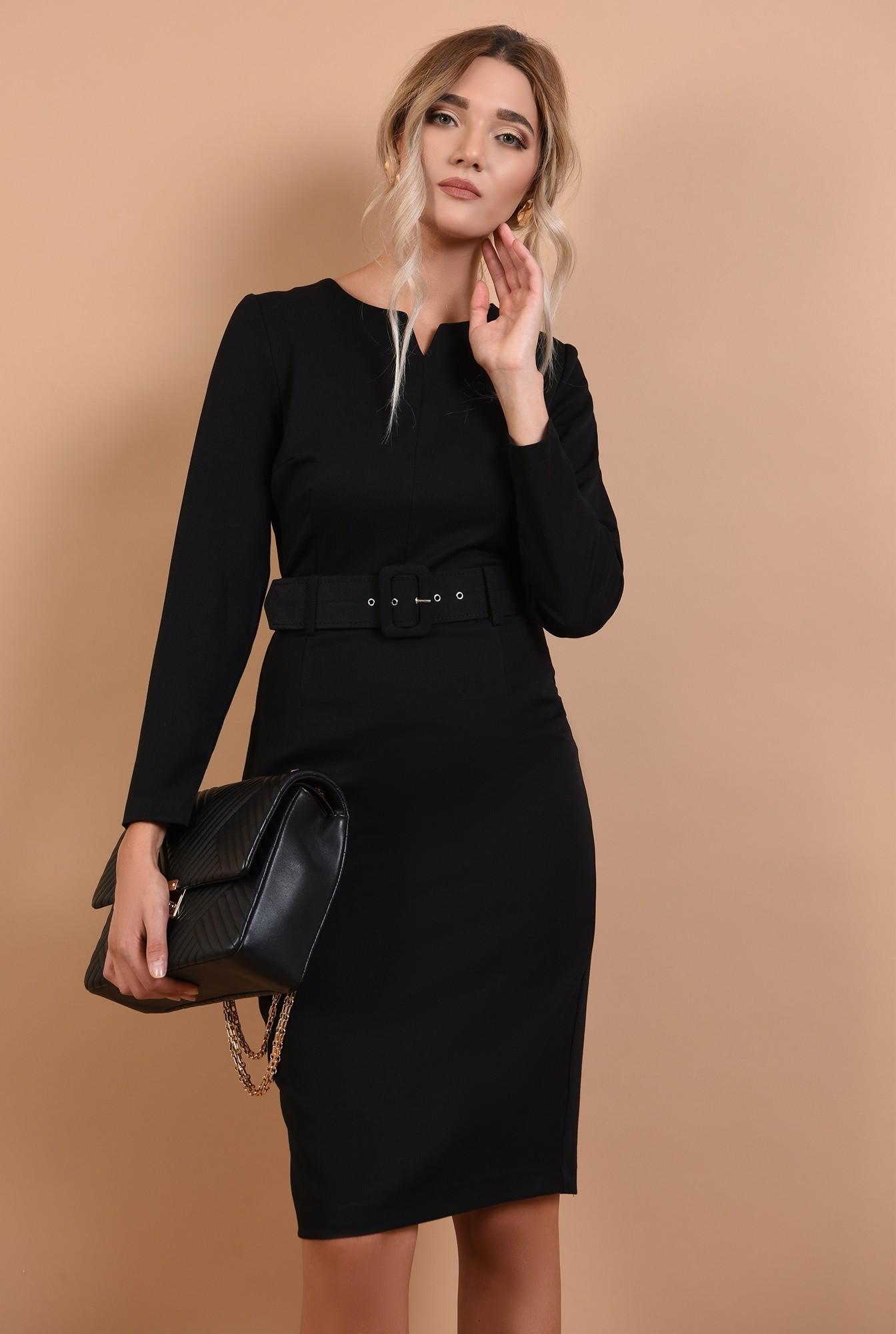 rochie de zi, neagra, office, decolteu acolada, centura, Poema