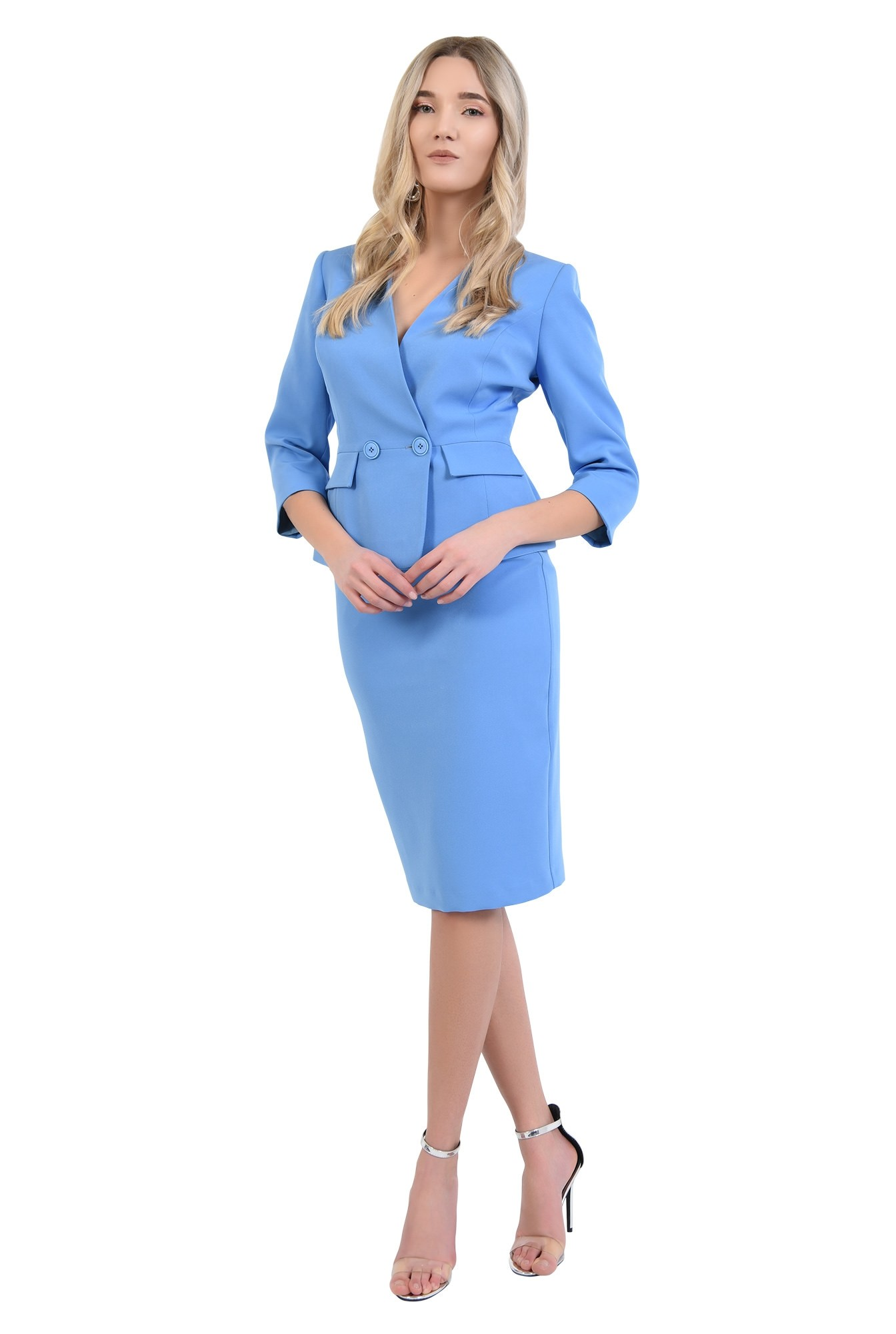 360 - sacou bleu, office, costum, buzunare cu clapa, anchior petrecut