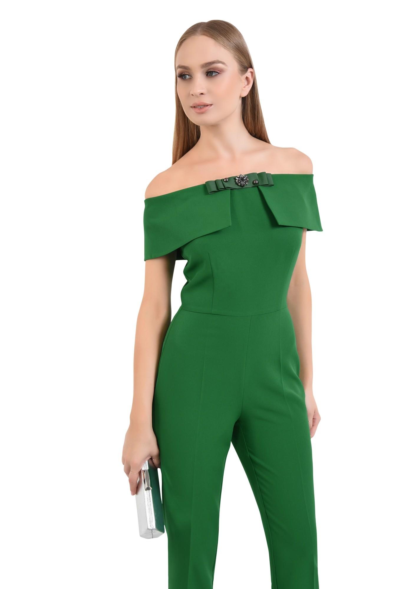 salopeta eleganta, verde, brosa, umeri goi