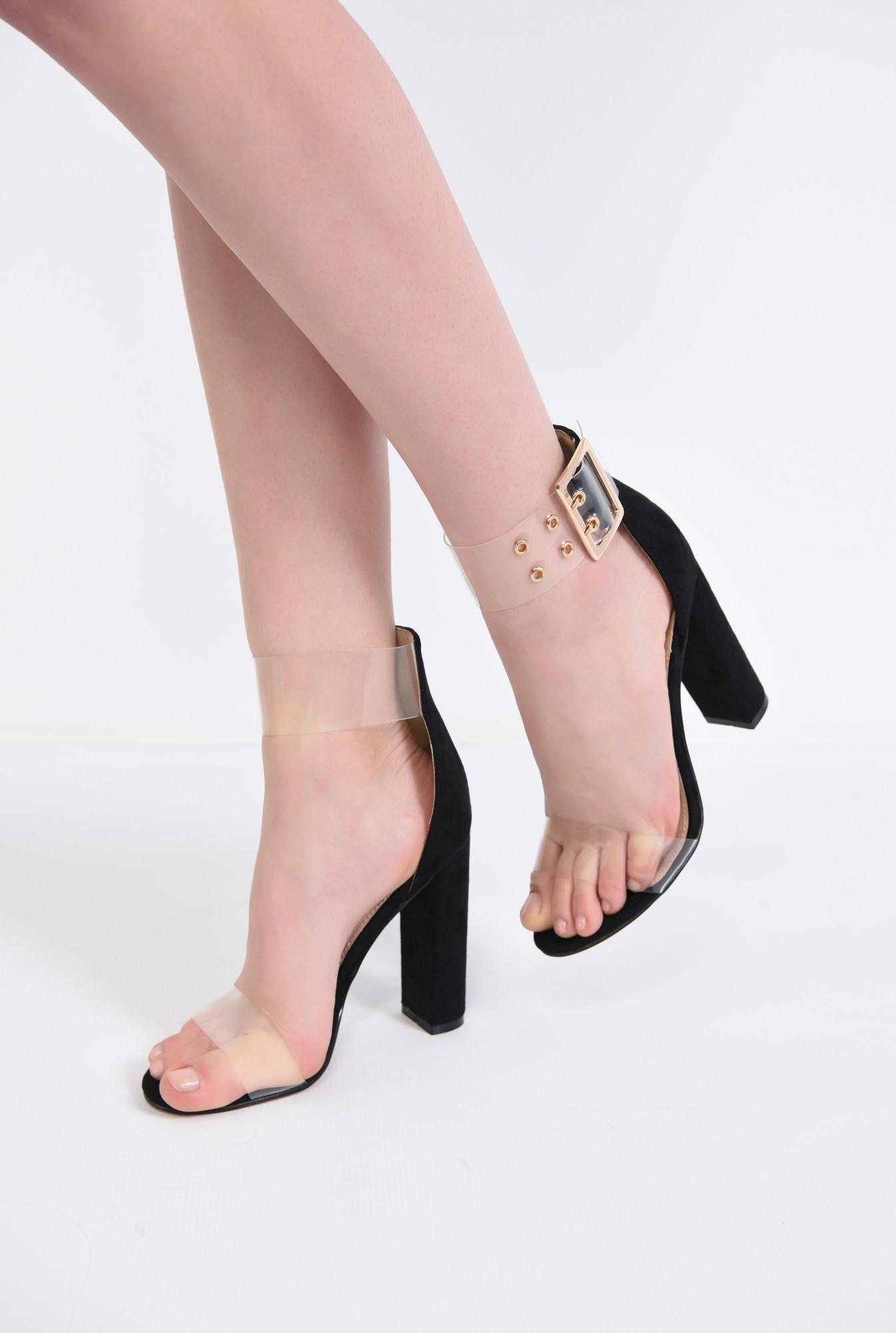 sandale dama, toc gros, capse, auriu