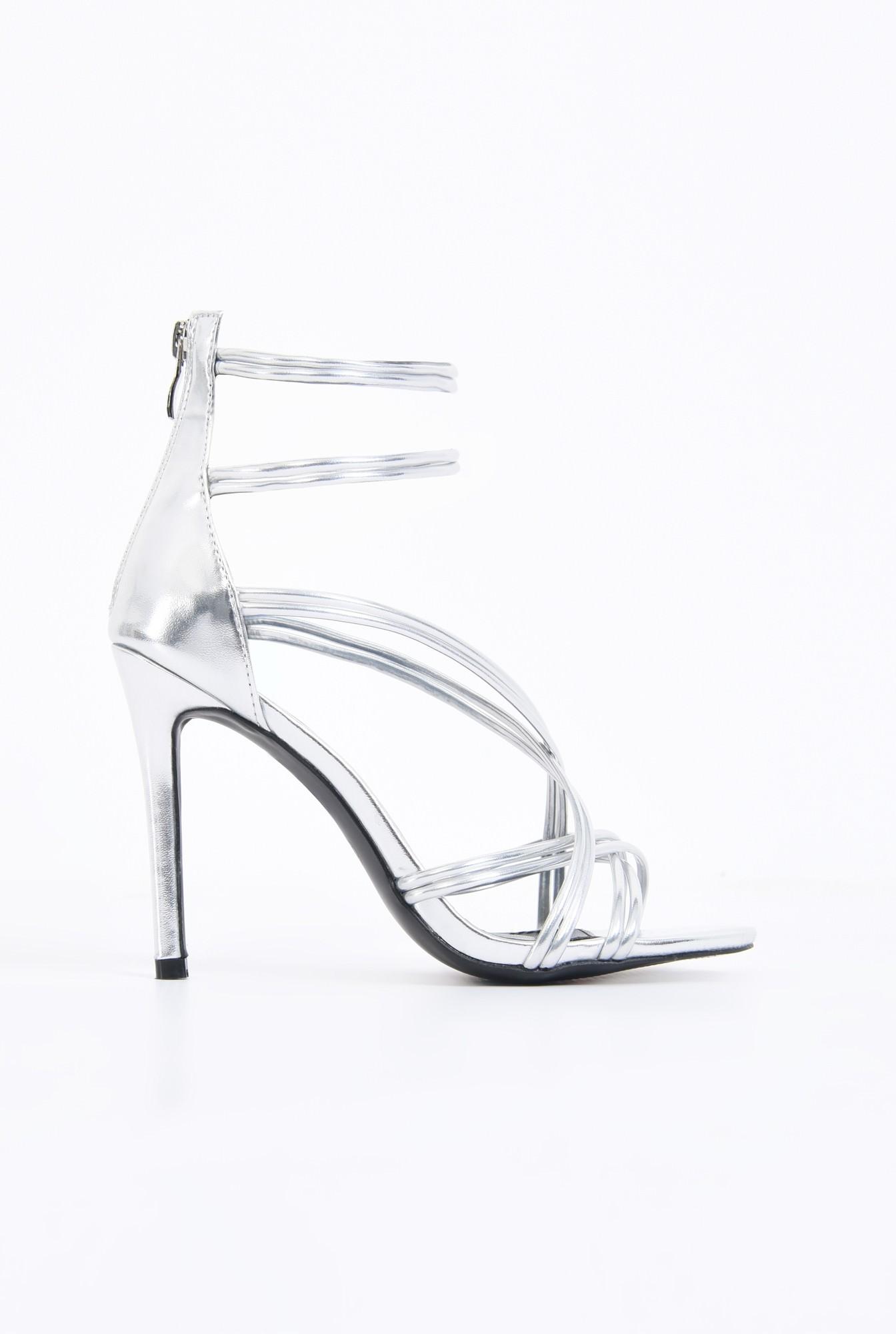 sandale elegante, argintii, stiletto