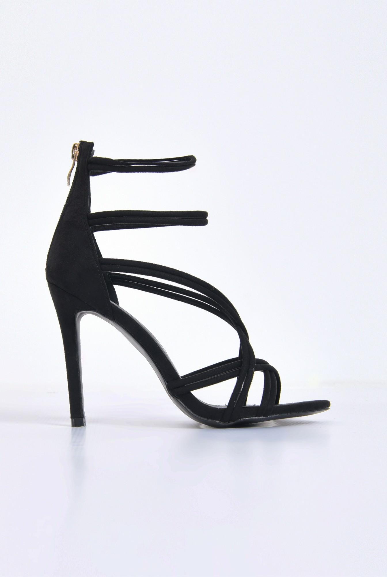 sandale elegante, negre, catifea, stiletto