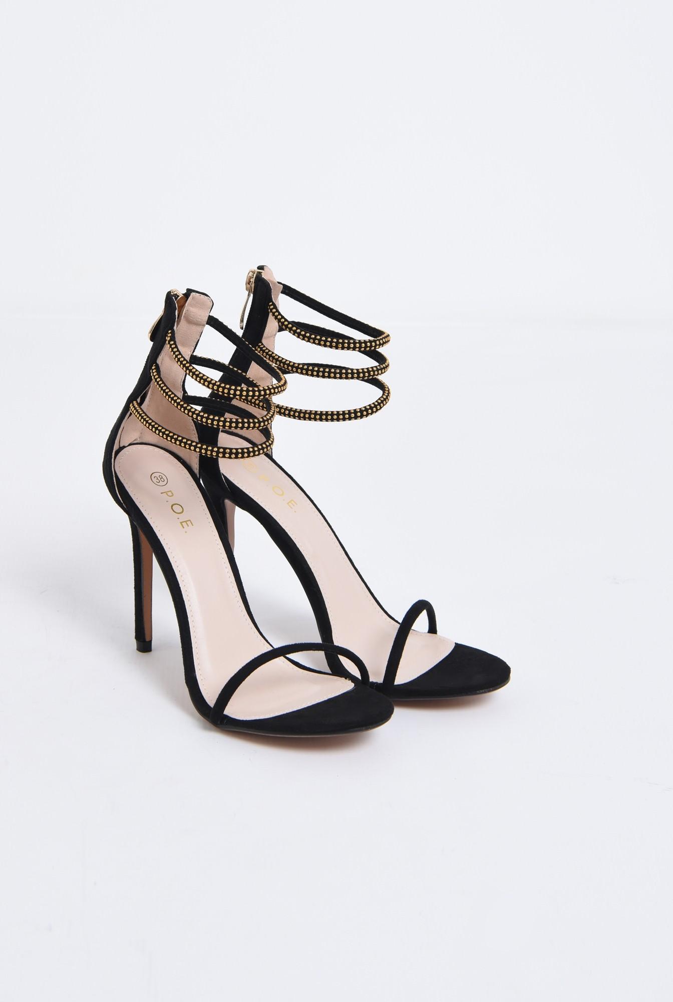 sandale elegante, negre, toc inalt, barete cu aplicatii metalice