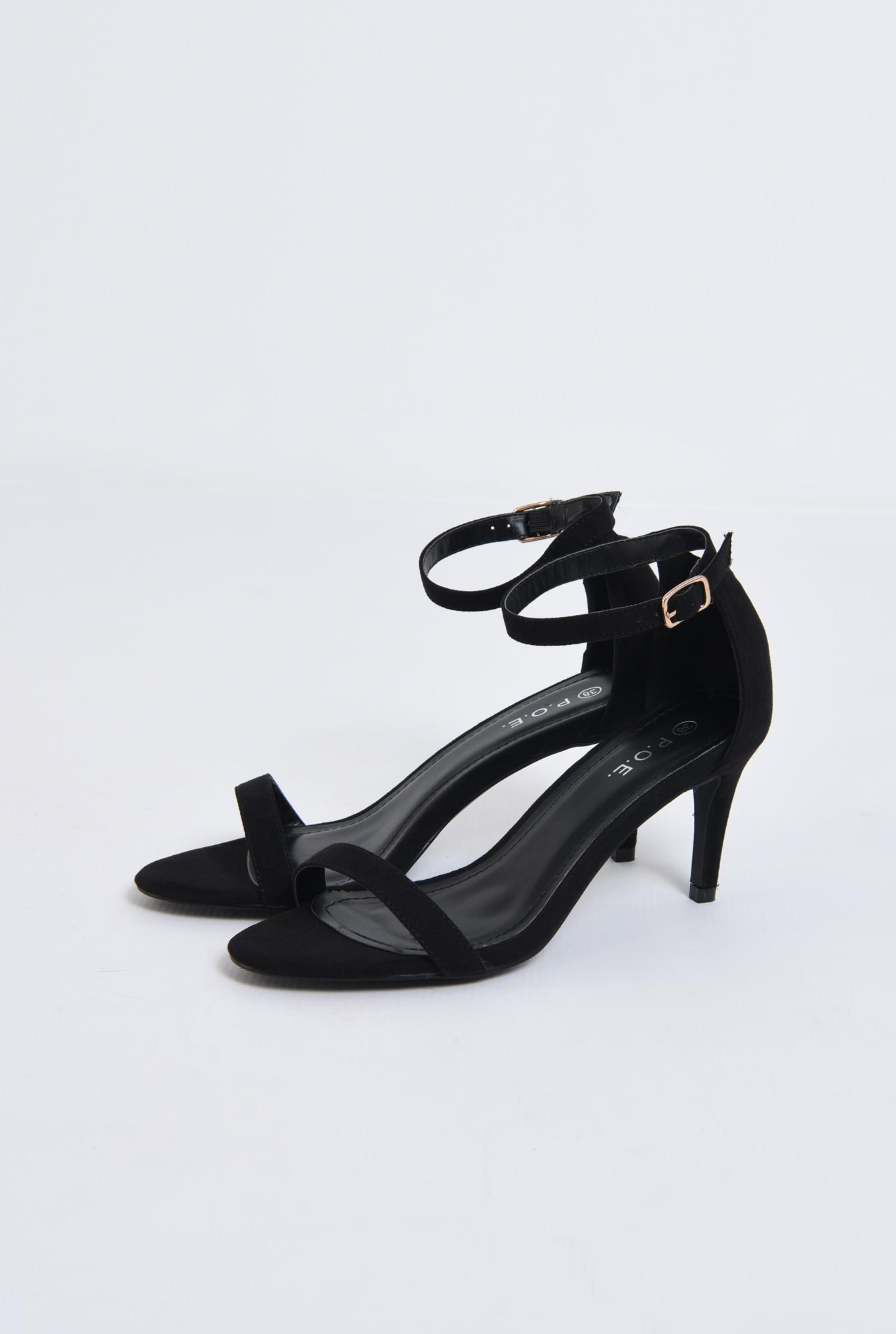 sandale elegante, din catifea, cu toc stiletto