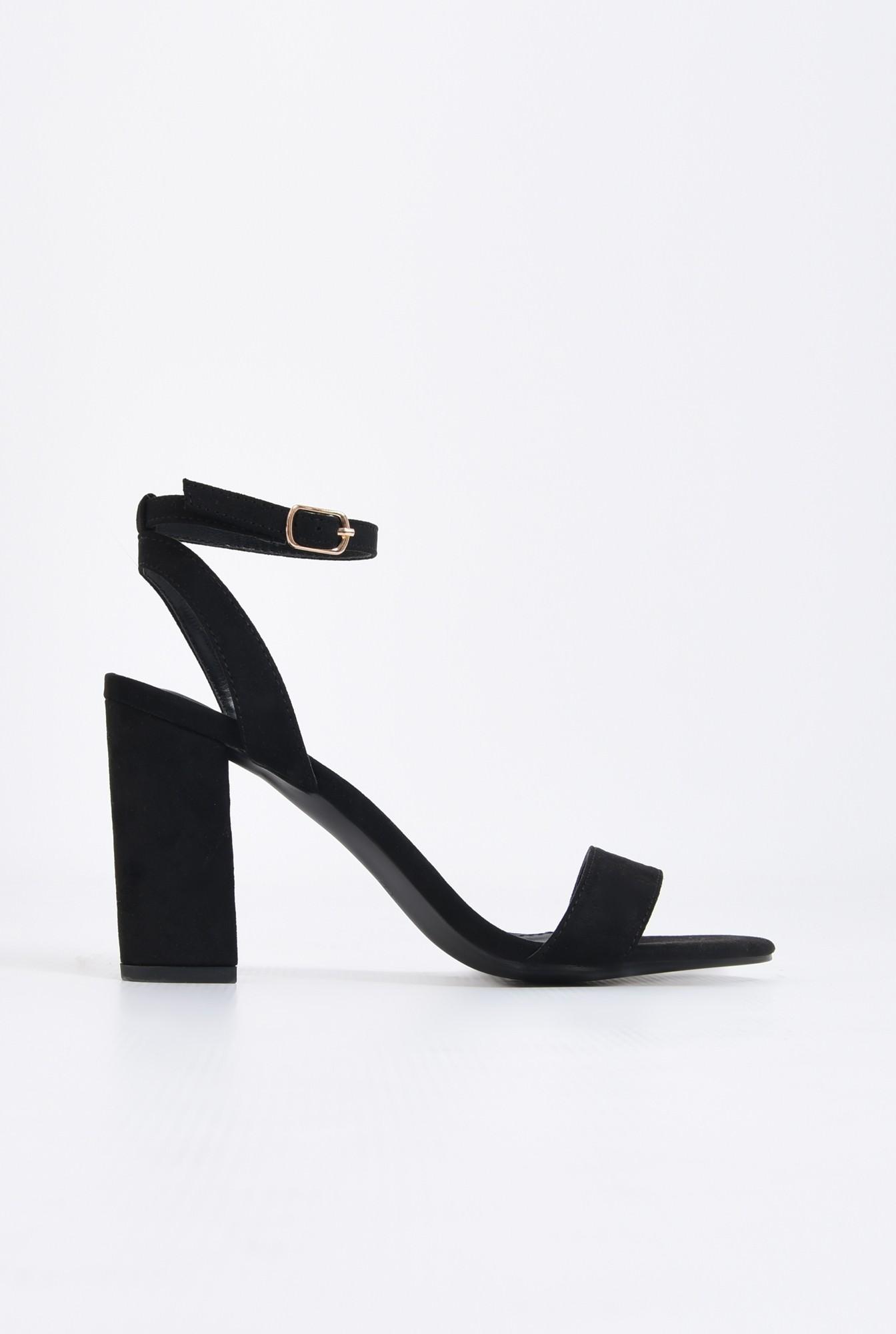 sandale elegante, negre, din catifea, toc gros