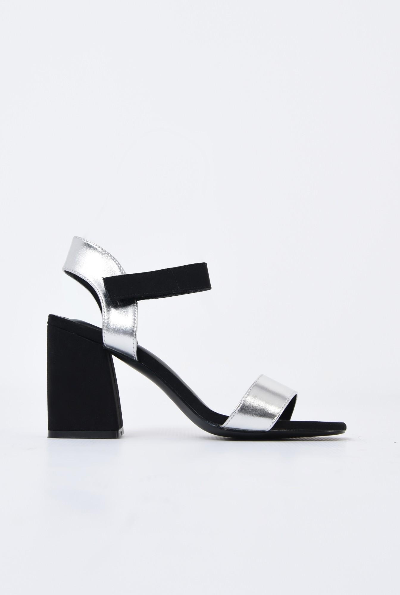 sandale casual, bicolore, negru, argintiu, inchidere cu scai