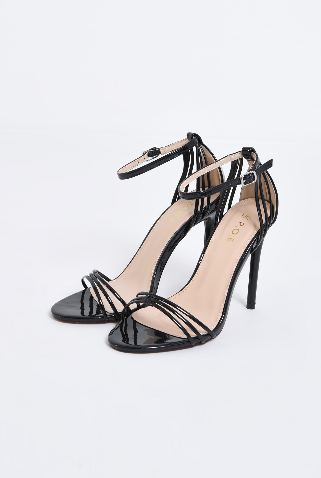 sandale elegante, din lac, negre, toc stiletto