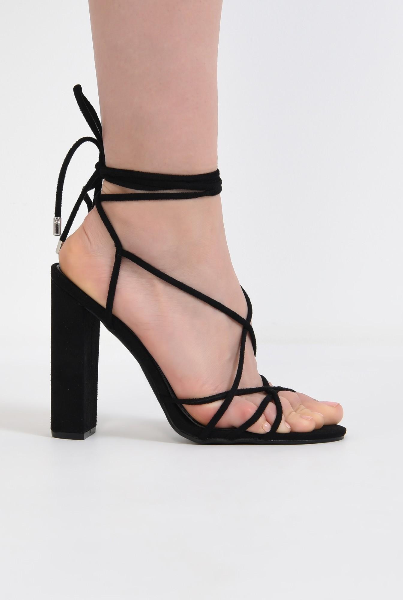 sandale elegante, negre, cu toc gros, barete tip snur