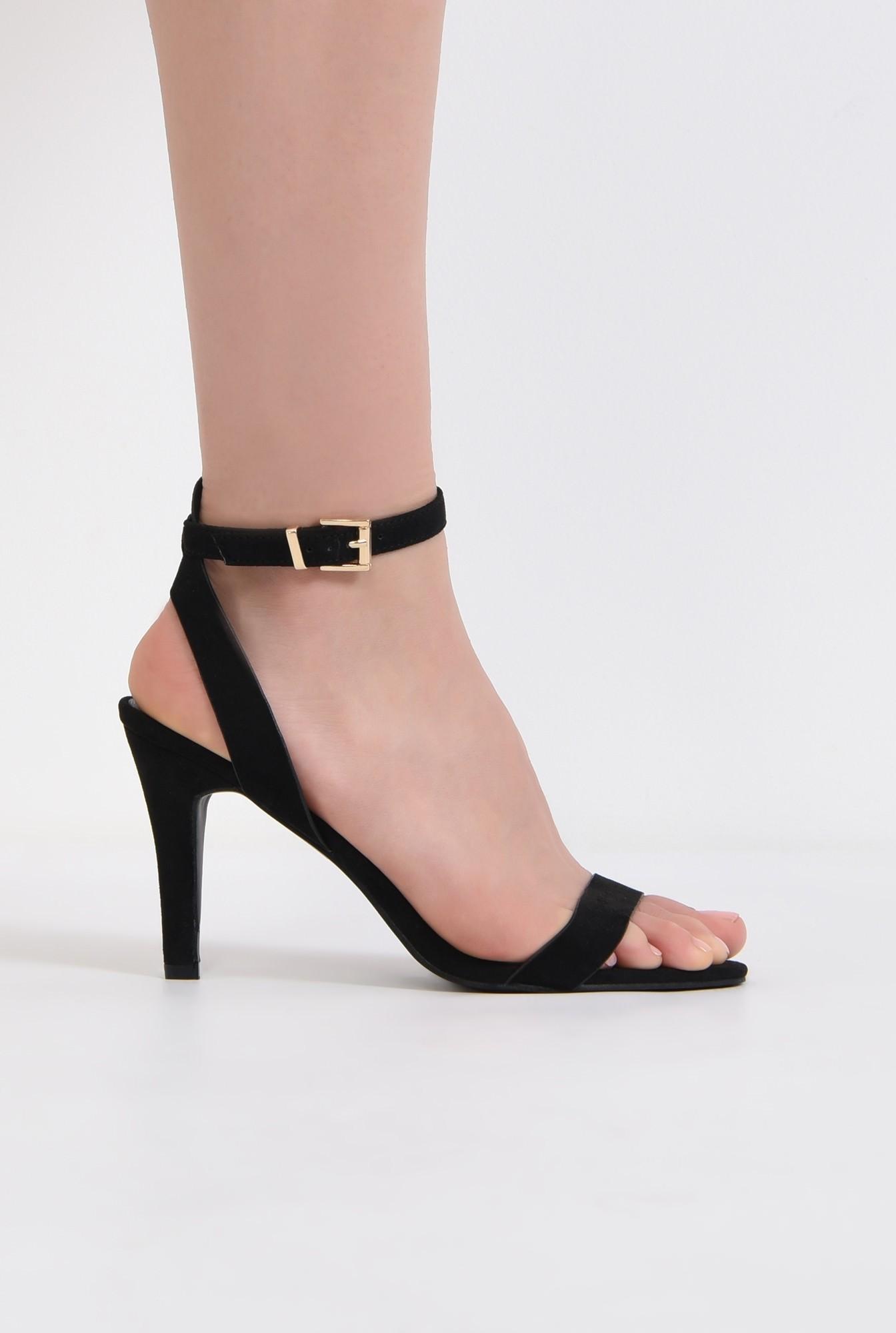 sandale casual, toc subtire, bareta la glezna, negru