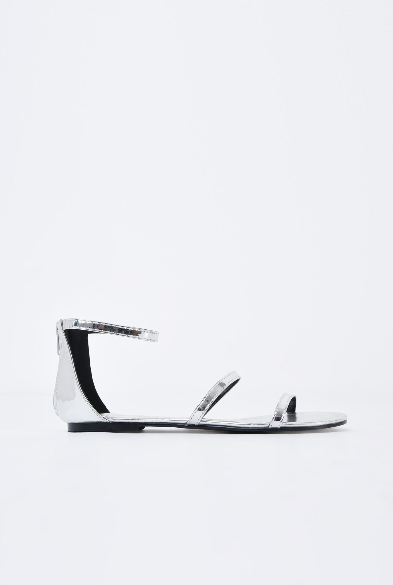 sandale comode, fara toc, argintii, cu barete subtiri