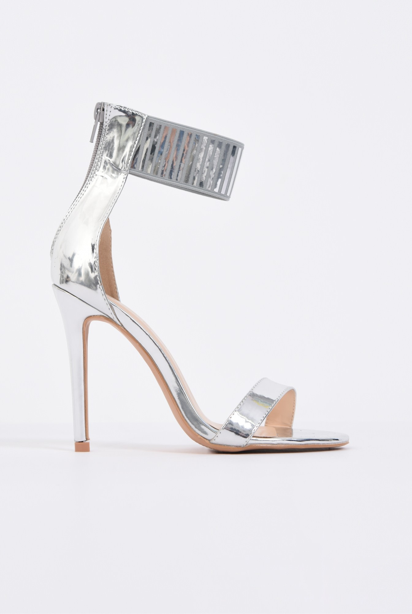 sandale elegante, argintii, metalizate, stiletto