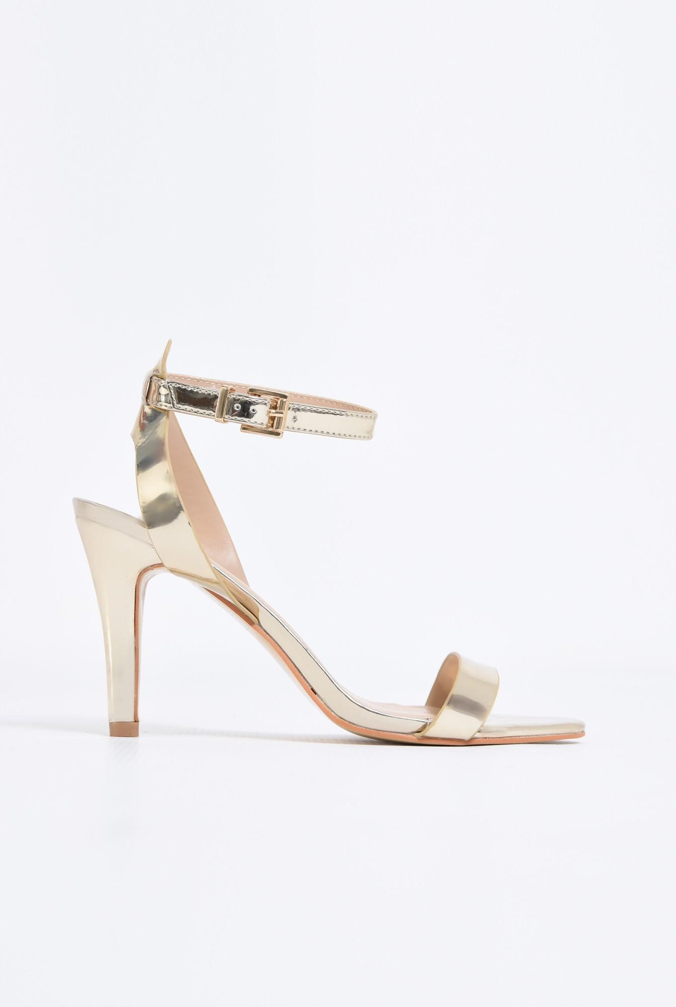 sandale elegante, aurii, cu toc subtire