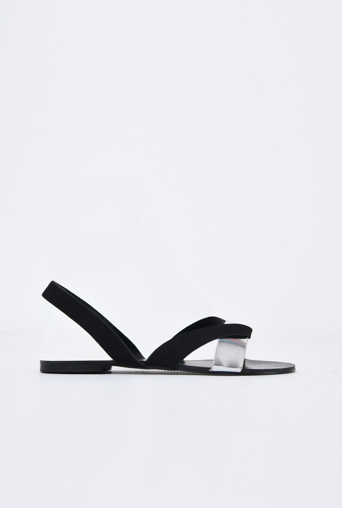 sandale comode, velur, bareta argintie, talpa joasa