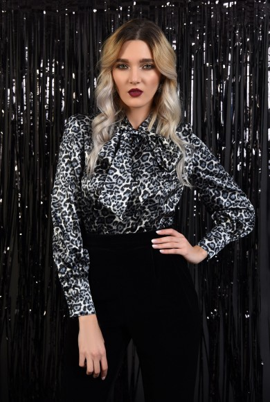 BLUZA DE OCAZIE DIN SATIN ANIMAL PRINT