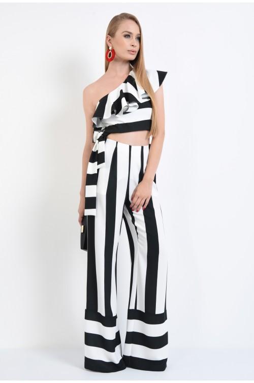 360 - bluze online, top cropped, cordon lat, alb, negru, croi mulat