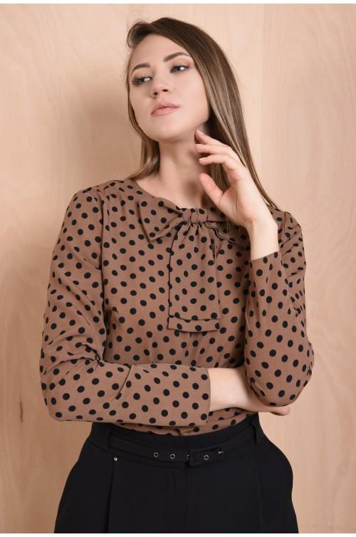 bluza cu buline, maro, negru, funda la gat, croi drept