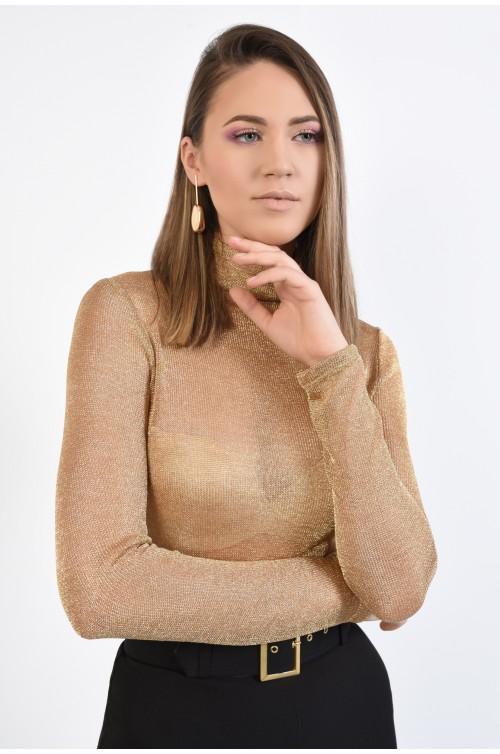 bluza eleganta, Poema, maleta aurie, cu fir metalic, guler rulat