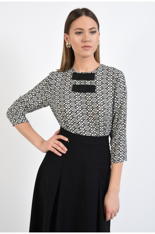 bluza cu imprimeu, funde din rips, alb-negru, sifon, print monocrom