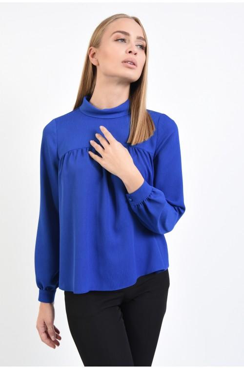 bluza casual, albastra, cu platca incretita, guler inalt rulat