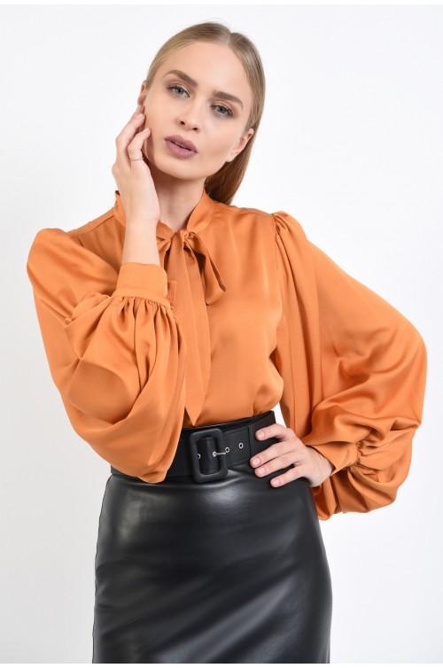 bluza eleganta, maneci bufante cu manseta, caramiziu, crep, bluza online
