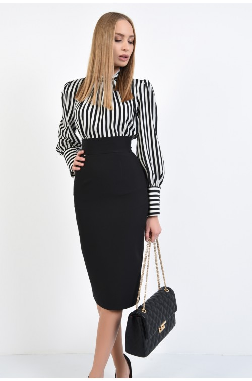 bluza eleganta, cu dungi, alb-negru, umeri cu pernite