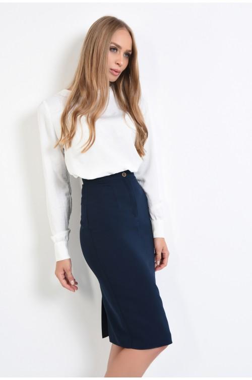 bluza casual, croi drept, maneci lungi, alb