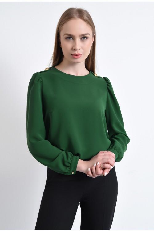 bluza casual, verde, epoleti, nasturi decorativi