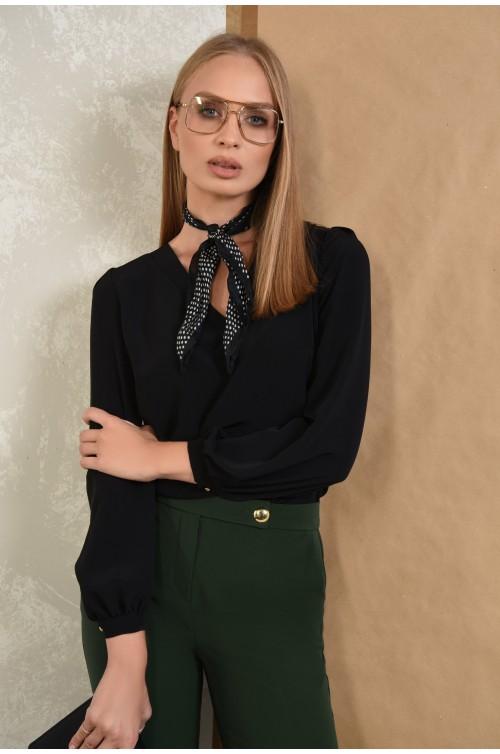 bluza casual, negru, anchior, maneci lungi