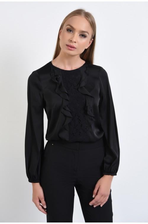 bluza eleganta, din satin, negru, volane