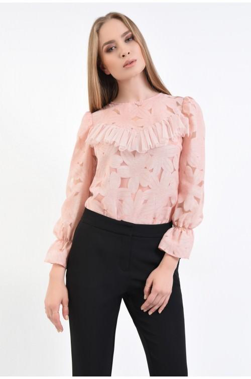 Bluza eleganta, din dantela, roz, maneci lungi