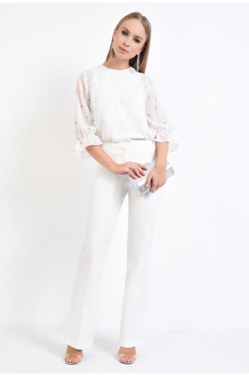 360 - bluza eleganta, sifon imprimat, volane din dantela, mansete pe elastic