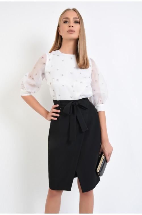 bluza eleganta, organza, imprimeu, alb