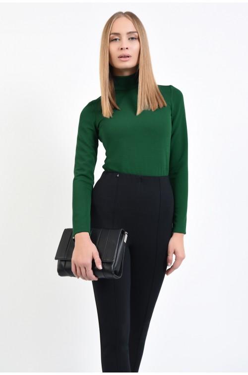bluza casual, verde, mulata, cu guler inalt, cu nasturi