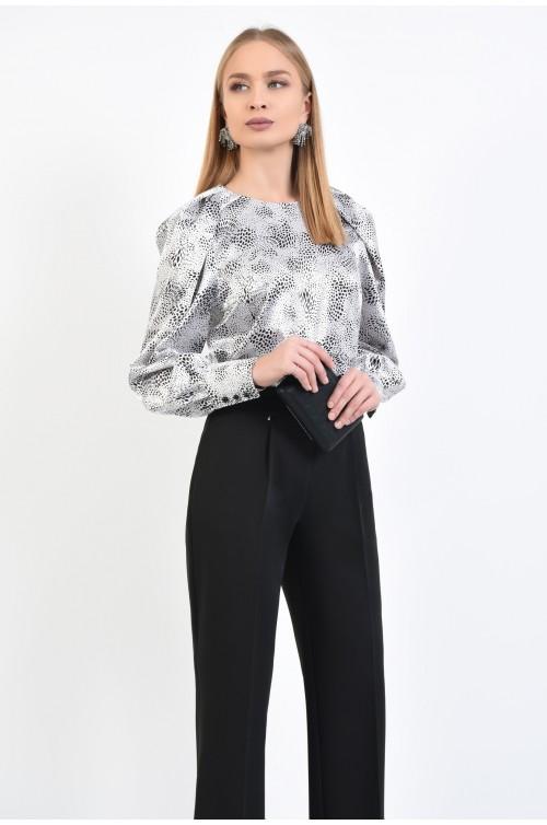 bluza din satin, de ocazie, alb-negru, decolteu rotund la baza gatului, bluze online