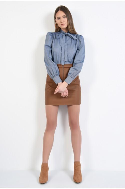360 - bluza casual, dreapta, cu funda, bleu, denim, maneci bufante