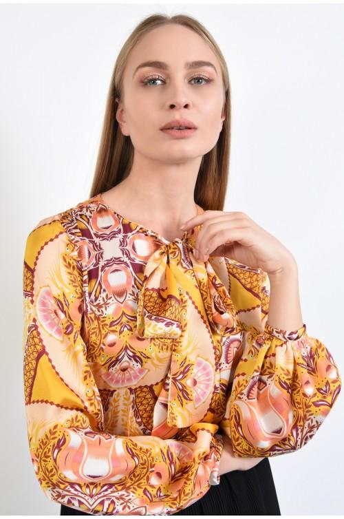 bluza casual, din satin imprimat, maneci bufante, mansete elastice, mustar, imprimeu multicolor
