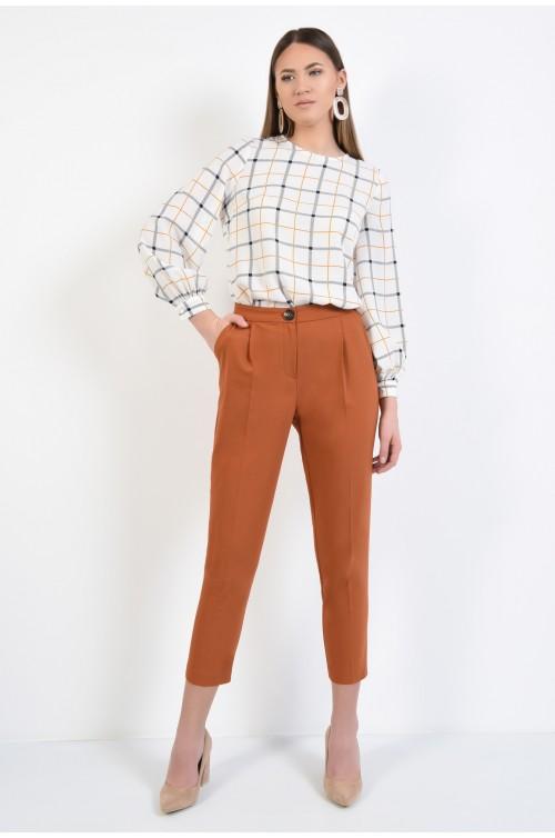 360 - bluza cu motive geometrice, viscoza, carouri, maneci bufante