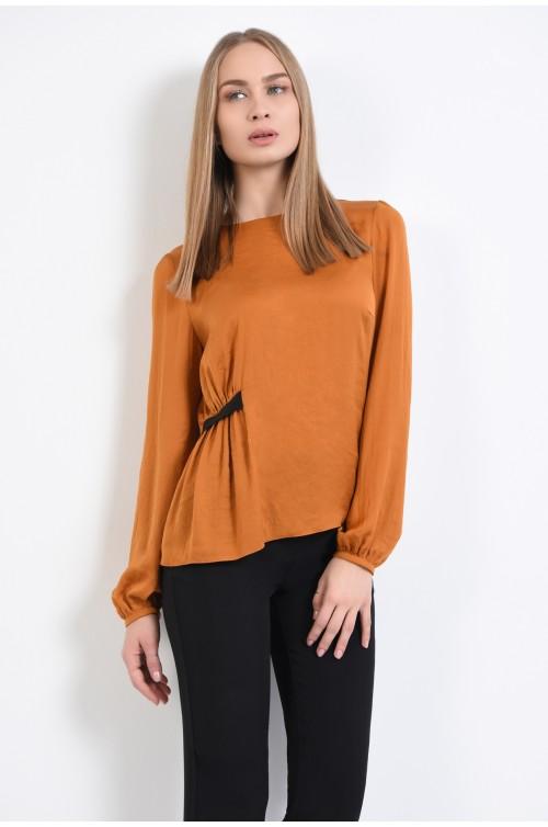 bluza eleganta, cu rips lateral, fronsata, mustar, maneci lungi