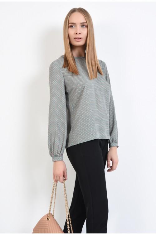 bluza casual, cu motive geometrice, vernil, maneci lungi