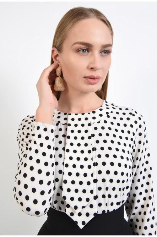 bluza casual, cu imprimeu buline, alb-negru, maneci lungi, cravata decorativa