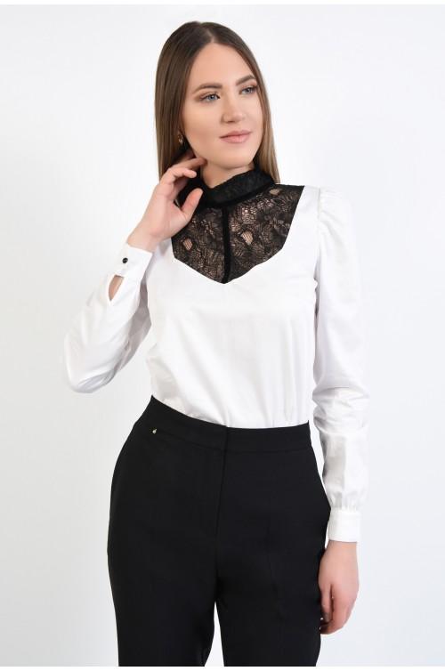 bluza eleganta, alba, cu dantela neagra, cu platca in contrast, Poema