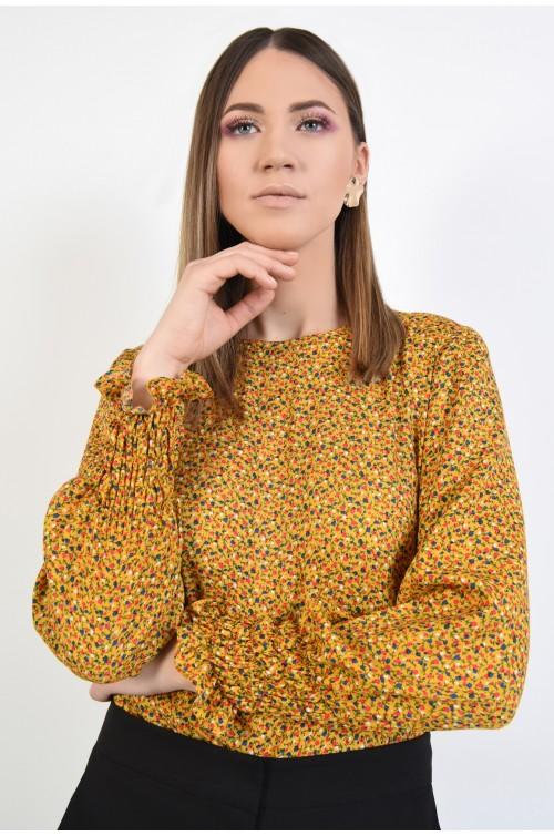 bluza mustar, cu imprimeu, casual, din vascoza, maneci lungi