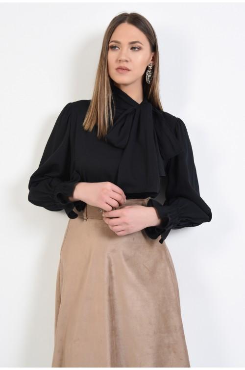 bluza neagra, din bumbac, cu funda la gat, cu maneci bufante